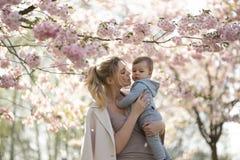 抱她的小小儿子男孩孩子的年轻母亲妈妈在与落的桃红色瓣的开花的佐仓樱桃树下和 免版税库存照片