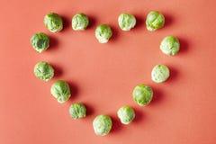 抱子甘蓝心脏在红色背景的爱形状 在现代样式样式的季节性菜 免版税库存照片