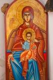 抱孩子耶稣东Orthod的圣母玛丽亚 库存图片
