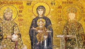 抱孩子耶稣基督,在圣索非亚大教堂的Comnenus马赛克,伊斯坦布尔的上帝的母亲 库存照片