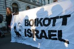 抵制以色列抗议横幅 免版税库存照片