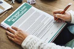 抵押贷款请求修改文件概念 库存照片