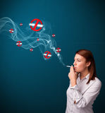 抽与禁烟符号的少妇危险香烟 库存例证