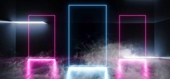 抽充满活力的霓虹发光的框架长方形塑造了萤光蓝色紫色真正科学幻想小说未来派阶段俱乐部聚会室黑暗的霍尔 库存例证