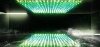 抽充满活力的霓虹发光的长方形矩阵小点塑造了萤光绿色黄色真正科学幻想小说未来派阶段俱乐部聚会室霍尔 向量例证
