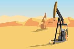 抽油装置在沙漠 皇族释放例证