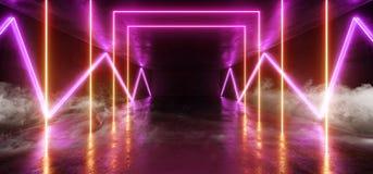 抽混乱霓虹发光的科学幻想小说未来派背景外籍人太空飞船充满活力的萤光激光展示阶段黑暗的难看的东西混凝土 向量例证