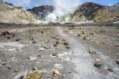 抽烟在白色海岛,新西兰15上的火山的火山口 库存照片
