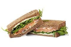 抽烟的三文鱼三明治 免版税库存图片
