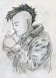 抽烟的低劣的草图 免版税库存图片