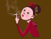 抽烟的女孩 免版税图库摄影