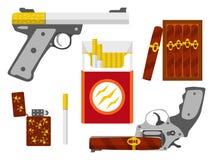 抽烟的杀害概念 平的设计元素 库存照片