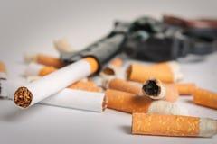 抽烟的杀害 反抽烟背景 库存照片