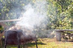 抽烟的烤肉在度假在乡间别墅里 免版税库存照片