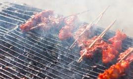 抽烟的烤鸡串 免版税图库摄影