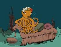 抽烟的章鱼 库存例证