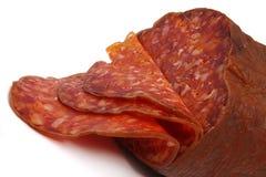 抽烟的红色香肠 免版税库存图片