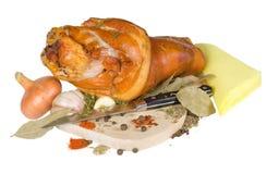 抽烟的行程猪肉 免版税库存照片