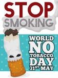 抽烟的香烟为没有烟草天喜欢妖怪世界,传染媒介例证 向量例证