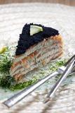 抽烟的鱼子酱三文鱼 库存照片