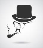 抽烟的绅士 葡萄酒设计象象的元素集 图库摄影