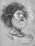抽烟 有胡子的吸烟者(水手) -手拉的大型illustr 免版税库存图片