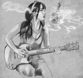 抽烟 音响详细资料吉他吉他弹奏者递instrumant音乐执行者使用 一个手拉的大型例证 免版税库存图片