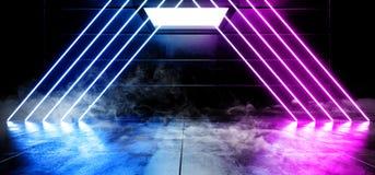 抽真正黑暗的空的太空飞船外籍人光滑的反射性混凝土霓虹发光的萤光紫色蓝色充满活力的三角线 库存例证