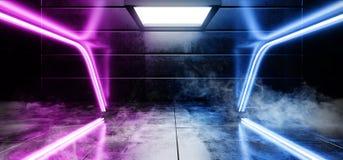 抽真正黑暗的空的太空飞船外籍人光滑的反射性混凝土霓虹发光的萤光紫色蓝色充满活力的典雅的线 库存例证