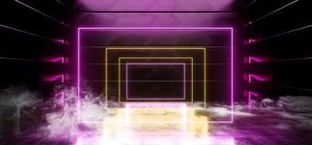 抽真正黑暗的空的太空飞船外籍人光滑的反射性混凝土霓虹发光的萤光紫色黄色充满活力的长方形框架 库存例证