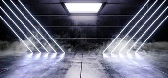 抽真正黑暗的空的被塑造的太空飞船外籍人光滑的反射性具体氖发光的萤光蓝色充满活力的三角线 库存例证