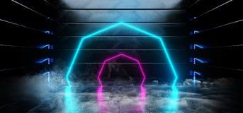 抽真正黑暗的空的被塑造的太空飞船外籍人光滑的反射性混凝土霓虹发光的萤光紫色蓝色充满活力的圈子 皇族释放例证