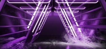 抽萤光充满活力的建筑金属霓虹未来派科学幻想小说发光的紫色紫外真正三角网络隧道 库存例证
