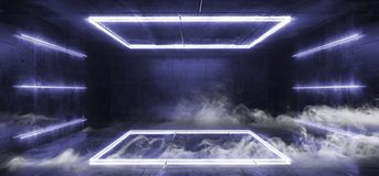 抽蓝色萤光未来派科学幻想小说长方形塑造抽象阶段光跳舞空的室的充满活力的减速火箭的霓虹发光的紫色 向量例证