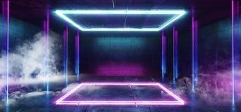 抽蓝色萤光未来派科学幻想小说长方形塑造抽象阶段光跳舞空的室的充满活力的减速火箭的霓虹发光的紫色 库存例证