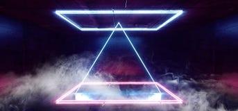 抽蓝色萤光未来派科学幻想小说长方形塑造抽象阶段光跳舞空的室的充满活力的减速火箭的霓虹发光的紫色 皇族释放例证