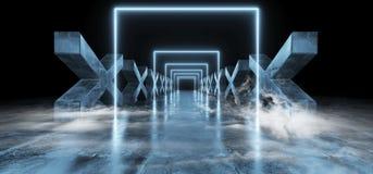 抽蓝色黑暗的充满活力的霓虹萤光长方形形状的科学幻想小说未来派轨道道路难看的东西具体十字形光滑 向量例证