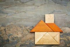 抽象七巧板房子 免版税库存照片
