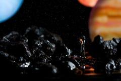 抽象下落行星查看水 免版税图库摄影