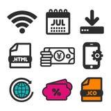 抽象下载图标例证向量 购物销售标志 HTML文件和日历7月象 地球圈子标志 金钱日元象 库存图片