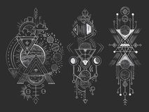 抽象不可思议的纹身花刺 神圣的几何月亮、神秘的揭示箭头线和玄妙和谐手拉的传染媒介 库存例证