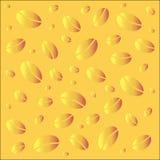 抽象不对称的样式黄色背景用咖啡豆 库存图片