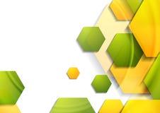 抽象与六角形的技术几何背景 免版税库存照片