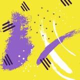 抽象与刷子冲程的传染媒介创造性的黄色紫罗兰色样式 打印的五颜六色的淡色对比背景 库存照片