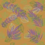 抽象与叶子和设计元素的秋天无缝的样式 库存照片