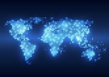 抽象与地球地图的技术数字式背景 免版税库存照片