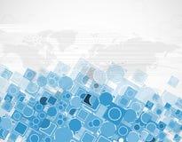 抽象与地球地图的计算机蓝色六角形传染媒介背景 免版税库存图片