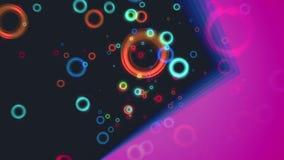抽象与对角紫色固体的飞行五颜六色的圈子微粒动画 库存例证