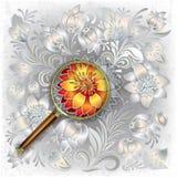 与放大镜和flor的抽象背景 免版税库存图片