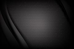 抽象与曲线的背景黑暗和黑碳纤维 向量例证